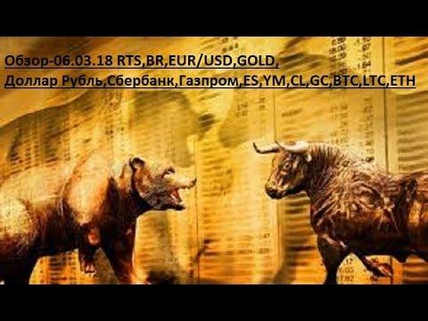 Обзор-06.03.18 RTS,BR,EUR/USD,GOLD, Доллар Рубль,Сбербанк,Газпром,ES,YM,CL,GC,BTC,LTC,ETH