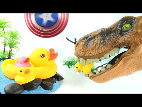 Thumbnail: T-Rex Attack Ducks! Learn Names of Dinosaurs - Captain America Spinner Dinosaur Toy for Kids 스피너 공룡