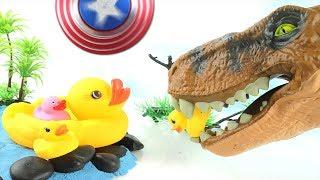 T-Rex Attack Ducks! Learn Names of Dinosaurs - Captain America Spinner Dinosaur Toy for Kids 스피너 공룡