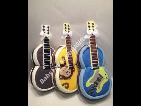 Guitar Diaper Cake, baby shower gift ideas, centerpieces, table decorations, music baby shower theme
