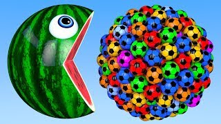 Learn Colors with PACMAN and Farm WaterMelon 3D Soccer Ball Street Vehicle for Children