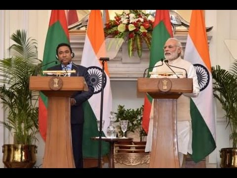 PM Modi with President of Maldives Mr Abdulla Yameen at the Joint Press Statement in New Delhi
