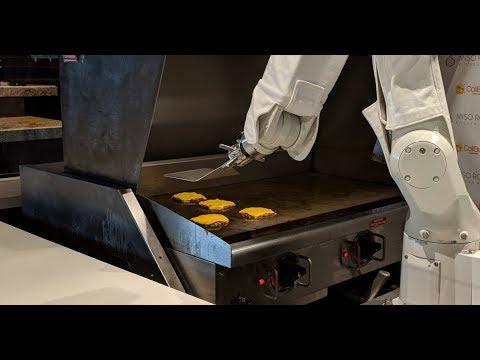 Burger-flipping robot que puede cocinar.