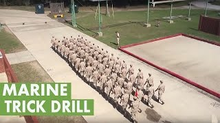 Platoon of Marines perform trick drill
