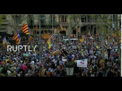 LIVE: Demonstration in Barcelona following Spain's push to remove Catalonia's leaders