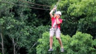 Flying Fox im Regenwald von Antigua/Karibik