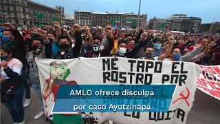 """El Presidente Andrés Manuel López Obrador se reunió con familiares de los 43 normalistas desaparecidos y les ofreció disculpas por este crimen. Padres y madres de los jóvenes piden """"apretar"""" pesquisa y dar resultados"""