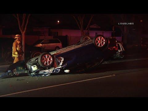 Sleeping Driver Crash / Lawndale   RAW FOOTAGE