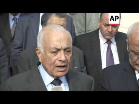 Palestinian President Abbas and Arab League chief Elaraby meet