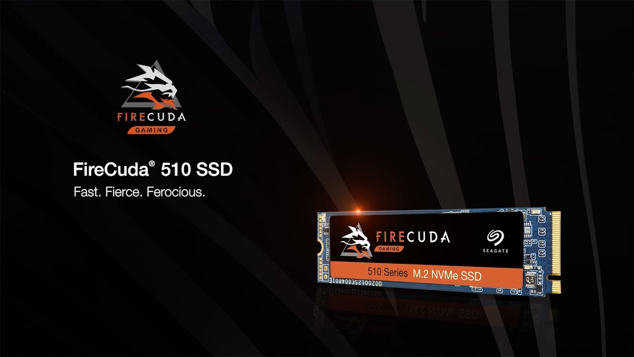 "Promotional image of the Seagate FireCuda NVMe SSD with a slogan that reads ""Fast. Fierce. Ferocious."""