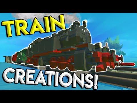 STEAM TRAIN, PASSENGER TRAIN, TRAIN TILES and MORE! - Scrap Mechanic Creations Gameplay -Train Build