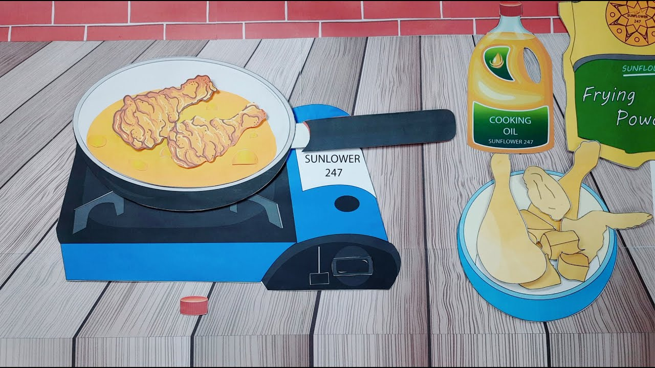 STOP MOTION COOKING - ASMR - Breaded Fried Chicken - SUNFLOWER 247