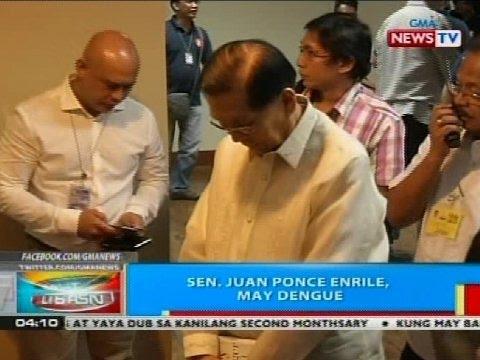 BP: Sen. Juan Ponce Enrile, may dengue
