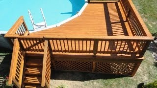 How to Build a Deck around a Pool(GET THE DRAWINGS AND LUMBER LIST @ http://www.heff.us/ We offer a 10% off coupon at Lowes good up to $500.00 off your purchase of up to $5000.00 at ..., 2012-08-26T05:56:18.000Z)
