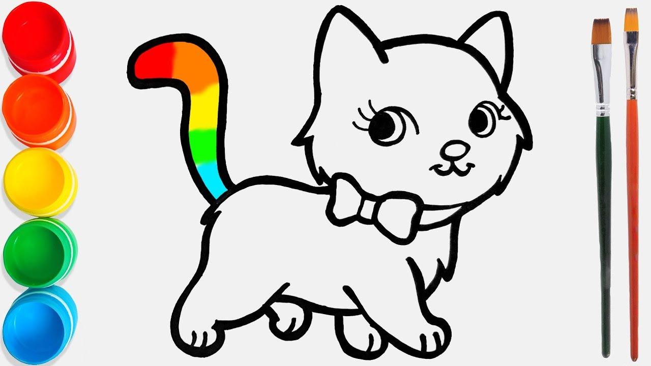 Cara Menggambar Dan Mewarnai Kucing Mainan 44 Video Pendidikan Untuk Anak Anak Youtube