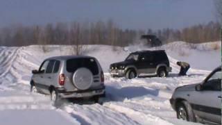 Езда по снегу на кроссоверах и внедорожниках(Forester 2шт, Pajero 2шт, Jimny 3шт, Niva 2шт, Spasio, Sportage, CR-V, Vitara., 2012-02-05T13:50:07.000Z)