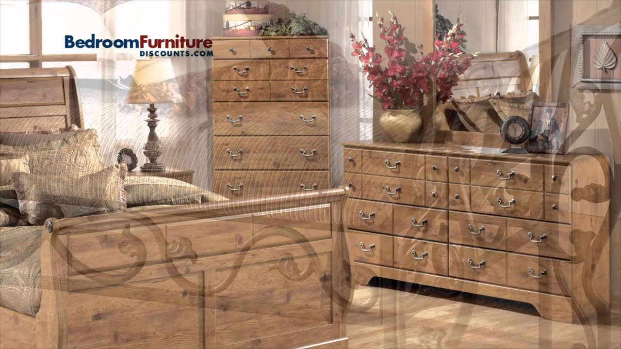 ashley bittersweet 4-piece sleigh bedroom set in walnut - youtube