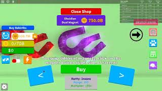 BUYING MAGNET 100M REBIRTH COINS - Roblox Magnet Simulator