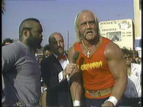 Hulk Hogan & Mr. T --  Wrestlemania (I) :30 Second Spot & L.A. Workout