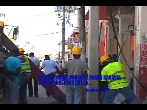 Electricité d'Etat d'Haiti travaillant sur le Réseau
