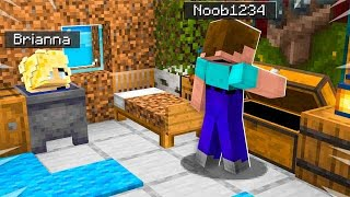 I Spent 24 Hours in Noob1234's Minecraft House! *he had no idea*