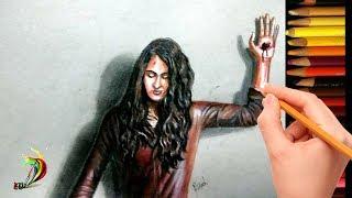3D Drawing of Anushka Shetty in Bagamathie | Anushka Bhagamathie