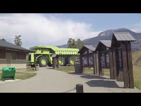 Sparwood BC (British Columbia) Canada - Driving In Coal Mining Town - Large Green Truck
