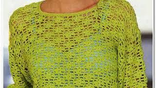Вязание крючком. Фисташковый пуловер с цветочным узором