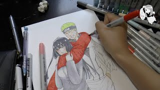 Naruto and Hinata. Naruto: The Last. Speed Manga Drawing