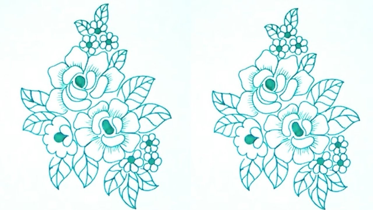 Simple pencil sketch rose flowers for embroidery saree