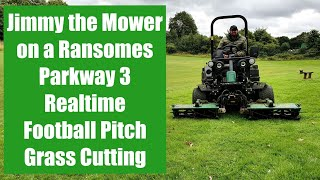 Realtime Football Pitch Mowing with Jimmy the Mower on a Ransomes Parkway 3 cutting grass real time