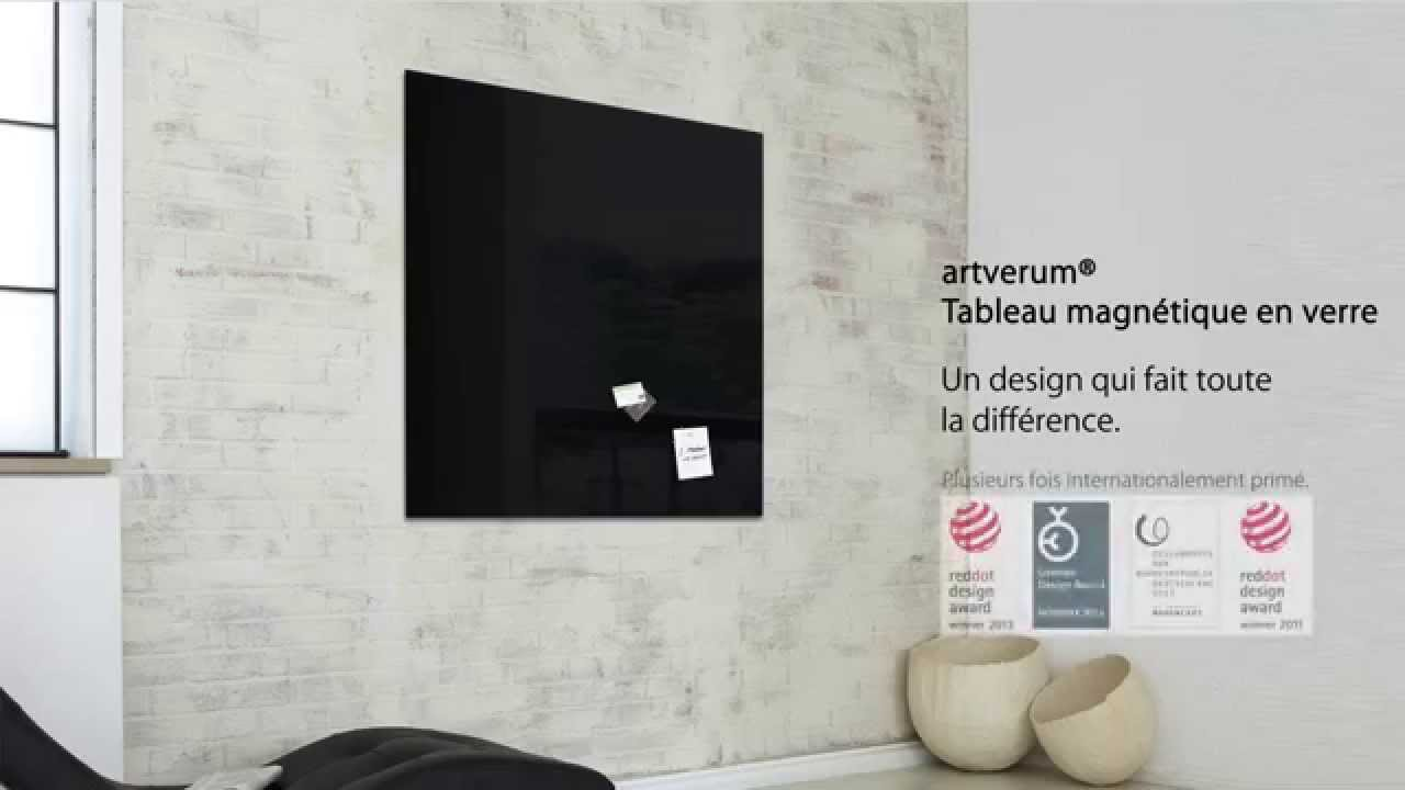 tableau magn tique en verre 39 39 artverum 39 39 100 x 100 cm noir gl200 youtube. Black Bedroom Furniture Sets. Home Design Ideas