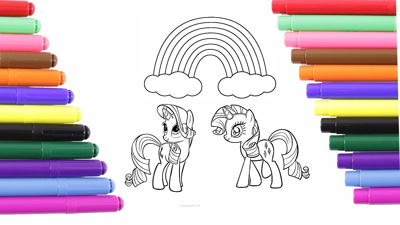 My Little Pony Unicorn And Rainbow Coloring Page For Kids Coloring Book
