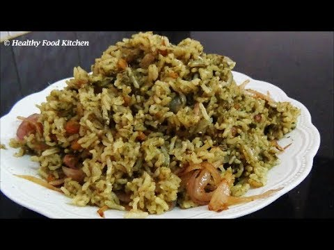 Mint Rice Recipe-Pudina Rice-Mint Leaves Pulao Recipe By Healthy Food Kitchen