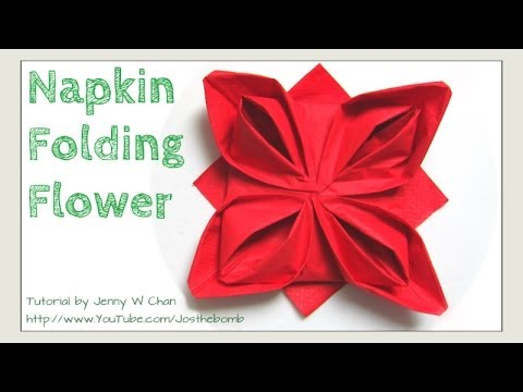 Christmas Table Setting - How to Fold a Rose Flower - Napkin ...