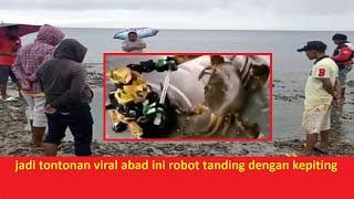 terekam kamera seekor kepiting lagi tanding dengan sebuah robot jadi tontonan viral banyak orang