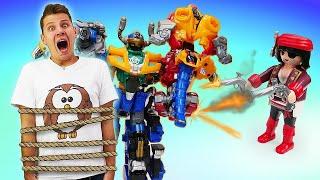 Игры и приключения игрушек. Трансформеры металионы против пиратов! Видео истории для мальчиков.