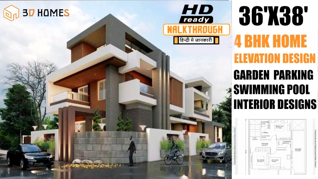 3d Home Design 36x38 House Plans 4 Bhk Interior Design Complete Details Youtube