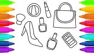 Cómo dibujar cosméticos y accesorios para niñas Aprender a pintar páginas para niños