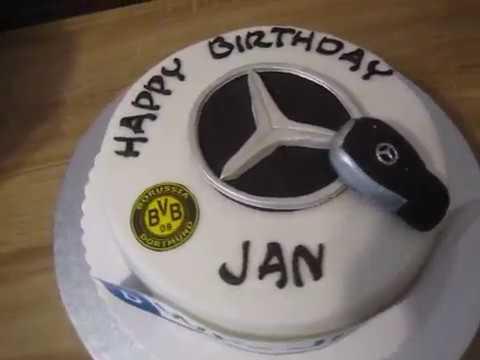 Mercedes Torte Bvb Torte Fondant Geburtstags Torte Mit Nummernschild