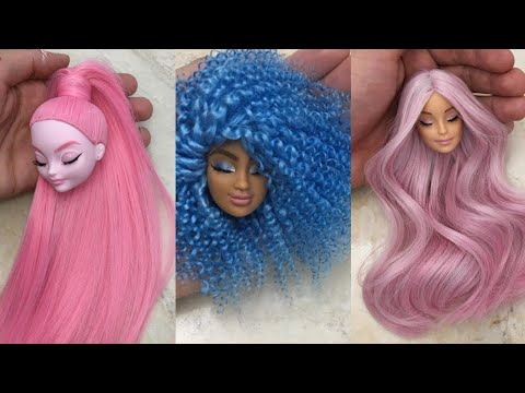 barbie-doll-makeover-transformation-~-diy-miniature-ideas-for-barbie-~-wig,-dress,-faceup,-and-more!