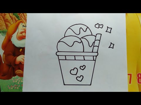HOW TO DRAW A CUTE ICE CREAM - VẼ CÂY KEM ĐƠN GIẢN