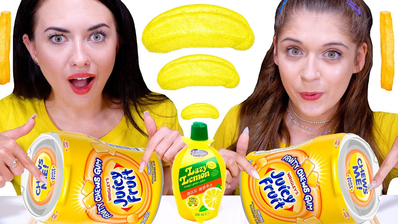 ASMR Mukbang Yellow Food Challenge  | Eating Only One Color Food By LiLiBu