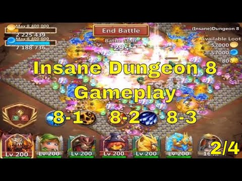 Castle Clash Insane Dungeon 8-1, 8-2, 8-3 Gameplay