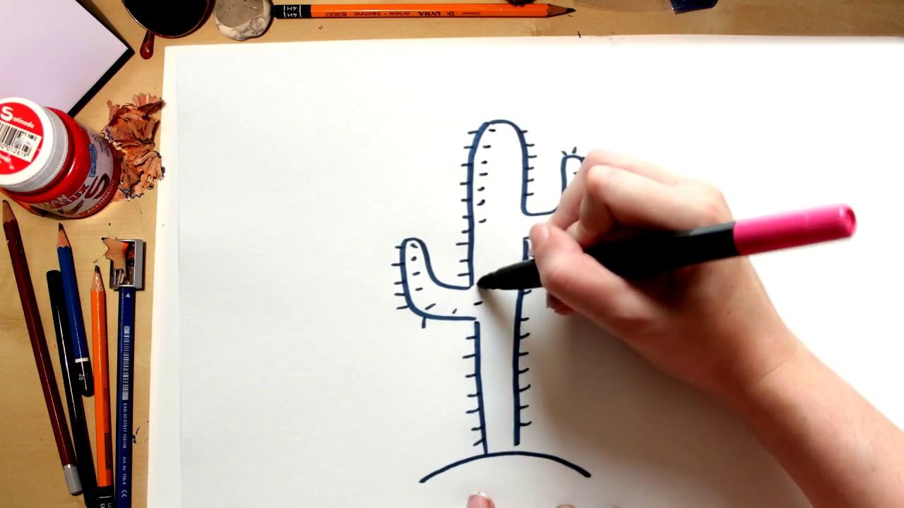 Como Desenhar Um Cacto Do Deserto Desenhos Para Criancas Youtube