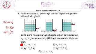 10.Sınıf MEB Okul Kursu Fizik K.K.Testi-9 (Basınç ve Kaldırma Kuvveti-3) [2018-2019]