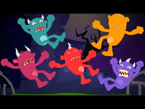 Five Little Monsters Halloween Song Kids Tv Nursery Rhymes