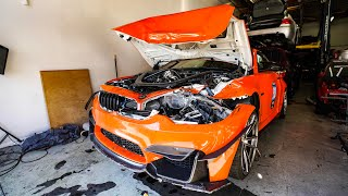 SCARY BMW CRASH DESTROYS M4! *5 AIRBAG DEPLOYED*