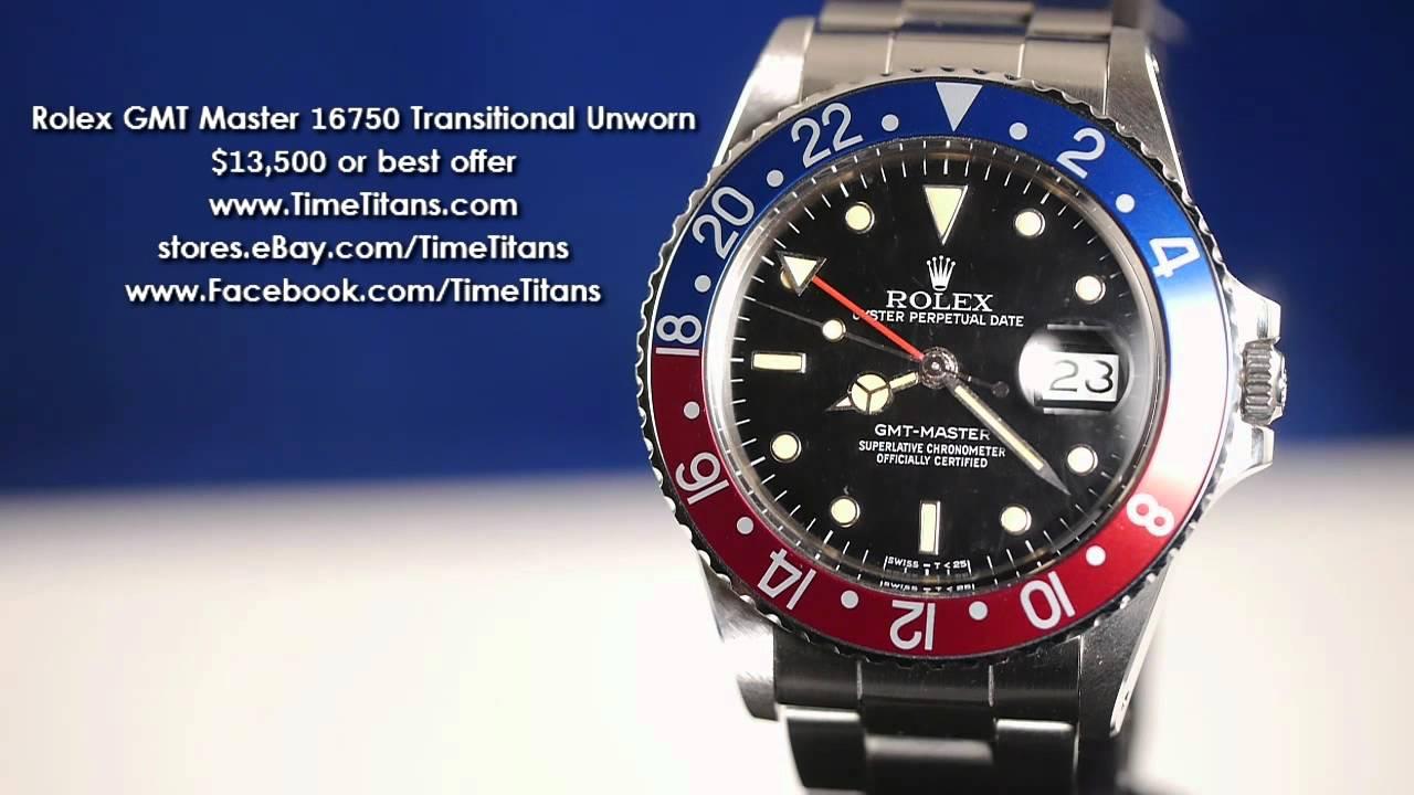 Rolex Gmt 2 >> Rolex 16750 GMT Master 8.9 Million UNWORN Quickset Transitional Plastic - YouTube