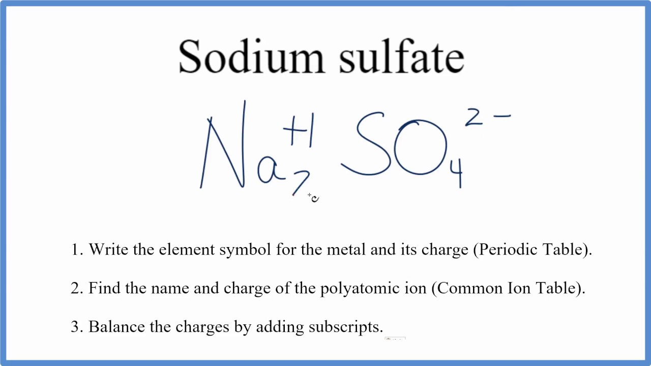 How To Write The Formula For Na2so4 Sodium Sulfate Youtube